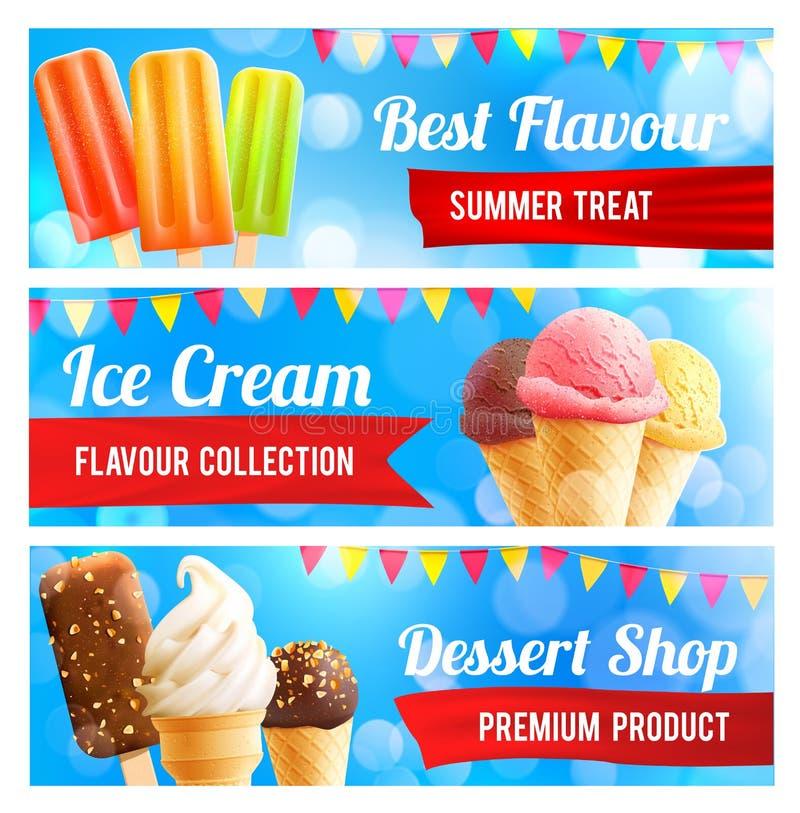 Baner för glasschoklad- och vaniljefterrätt 3d vektor illustrationer