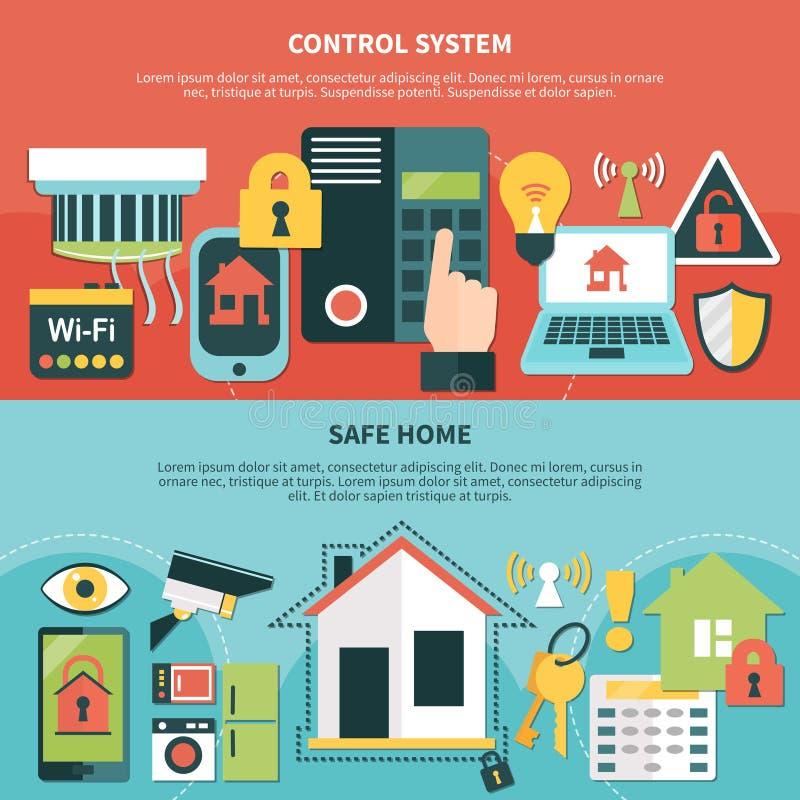 Baner för hem för kassaskåp för kontrollsystem royaltyfri illustrationer