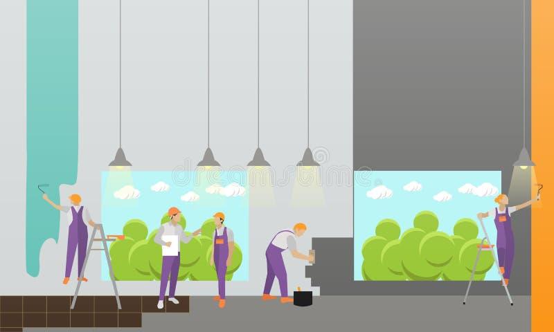 Baner för hemmiljö- och rumreparationsvektor Arbetare gör renovering i lägenhet Byggnad under konstruktion stock illustrationer