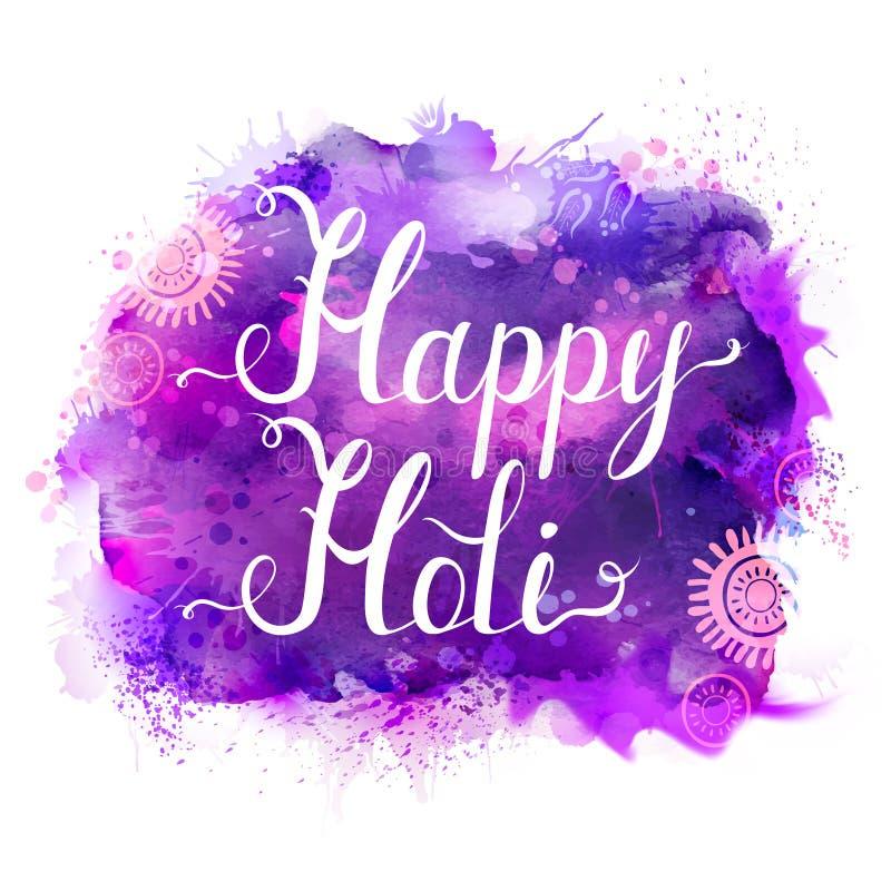 Baner för Holi festivalvektor med vit bokstäver på lila-, violet-, lila- och blåttvattenfärgfläckar Abstrakt ljust stock illustrationer