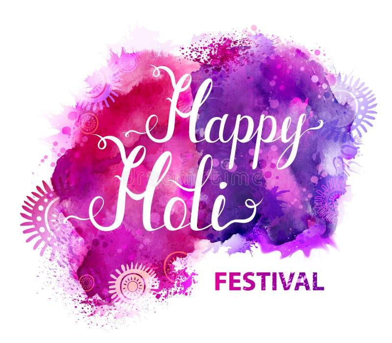Baner för Holi festivalvektor med vit bokstäver på lilor, violet, lila och rosa färgvattenfärgfläckar Abstrakt ljust vektor illustrationer