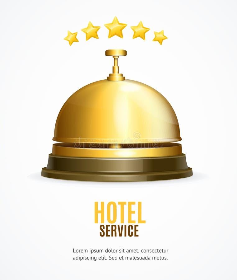 Baner för hotellmottagandeservice med det realistiska detaljerade 3d mottagandet Klocka vektor stock illustrationer