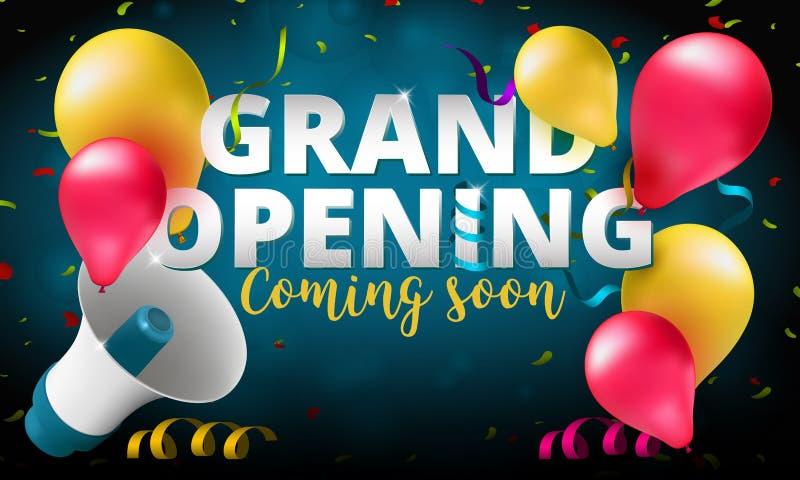 Baner för inbjudan för händelse för storslagen öppning eller affischdesignmall stock illustrationer
