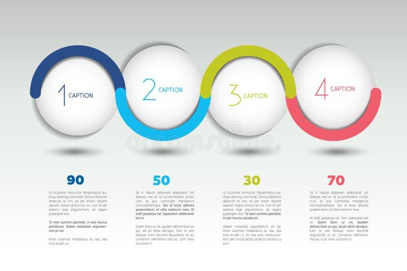 Baner för Infographic vektoralternativ med 4 moment Färgsfärer, bollar, bubblar stock illustrationer