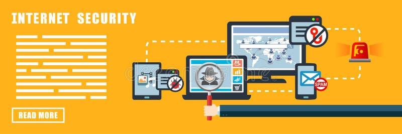 Baner för internetsäkerhetsbegrepp stock illustrationer