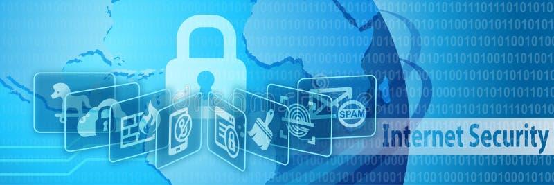 Baner för internetsäkerhetsskydd vektor illustrationer