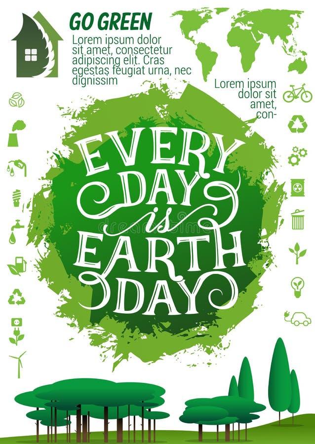 Baner för jorddag med ekologiskyddssymbolen stock illustrationer