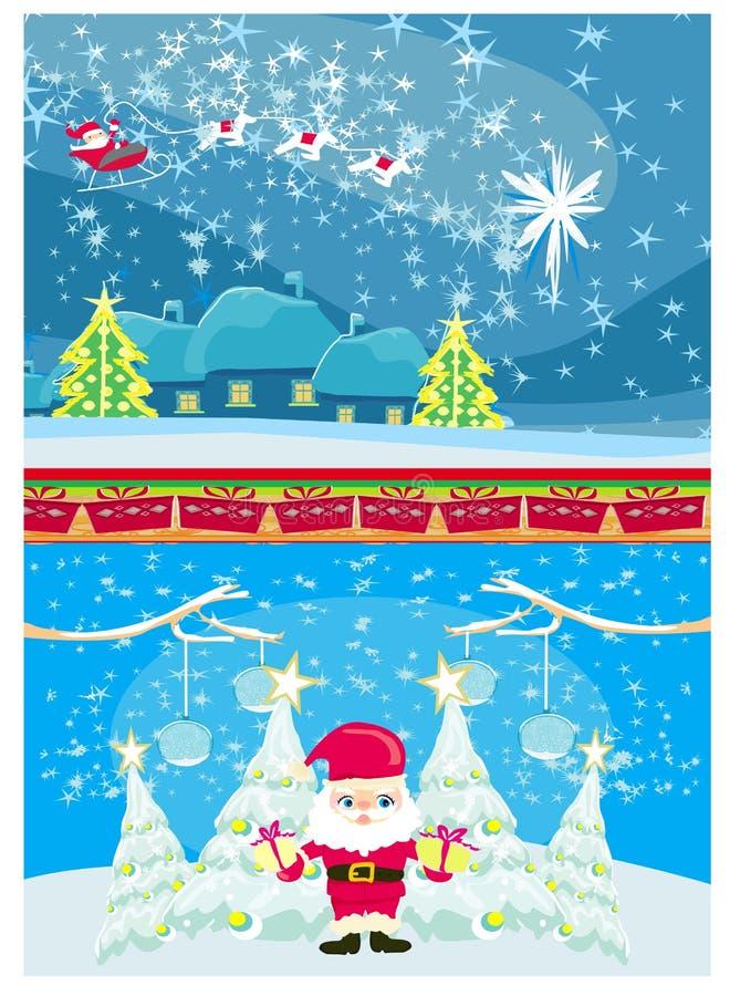 Baner för jul och nytt års, roliga Santa Claus royaltyfri illustrationer