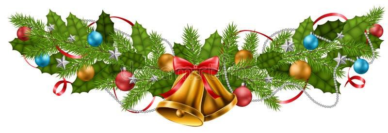 Baner för julgirlandgarnering med bollar och klockan royaltyfri illustrationer