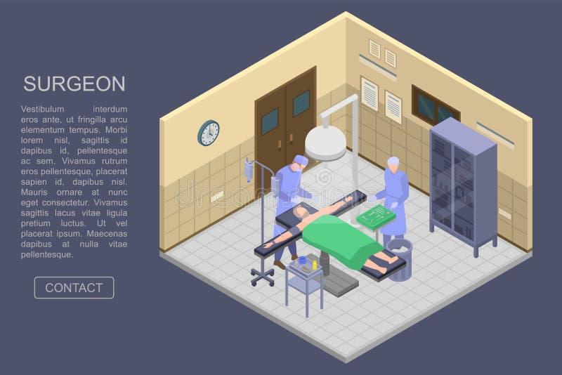 Baner för kirurgrumbegrepp, isometrisk stil royaltyfri illustrationer
