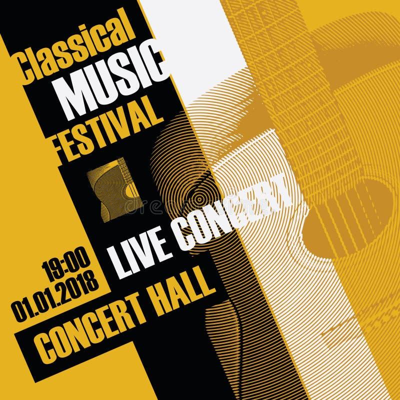 Baner för klassisk musikfestival med en gitarr royaltyfri illustrationer