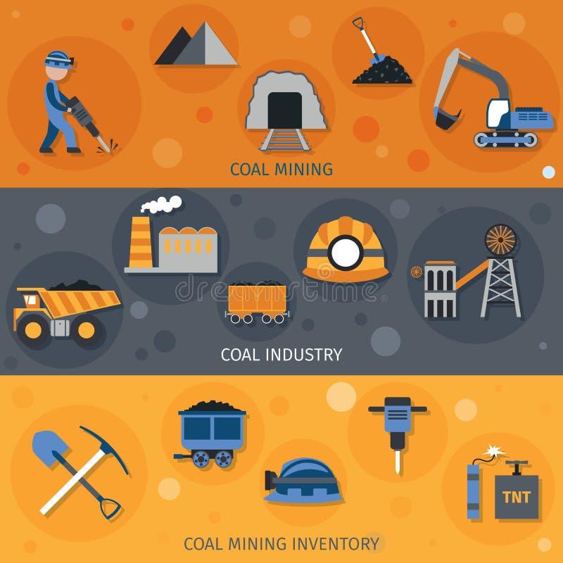Baner för kolbransch stock illustrationer