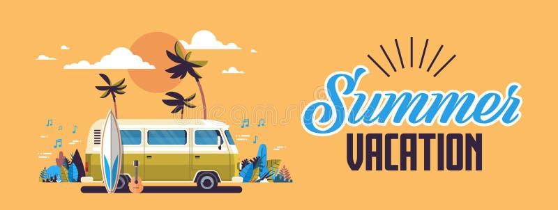 Baner för kort för hälsning för tappning för tropisk strand för solnedgång för buss för bränning för sommarsemester retro surfa h royaltyfri illustrationer