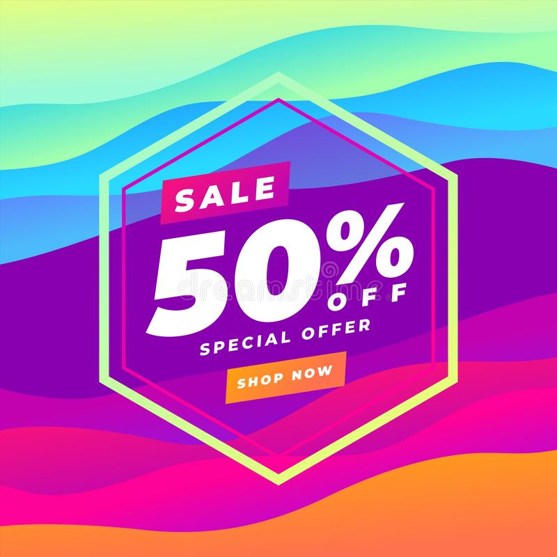 baner för kurva för 50 procent rabattförsäljning färgrikt abstrakt Trendlutning V?tska formar sammans?ttning stock illustrationer