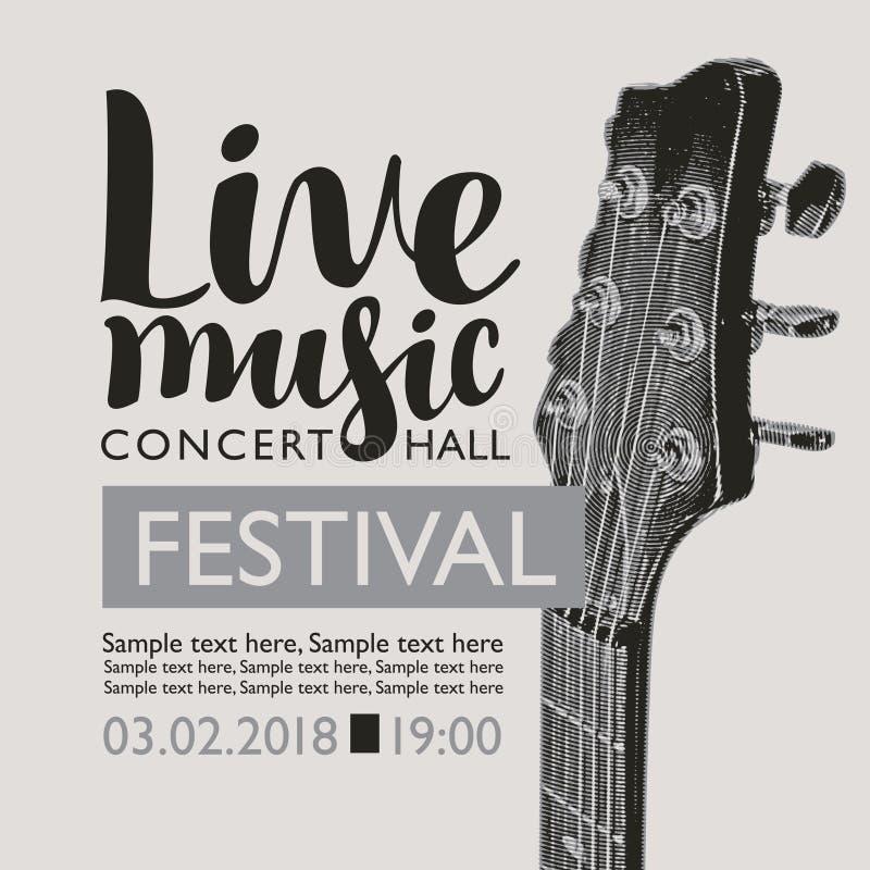 Baner för levande musik för festival med en gitarrhals vektor illustrationer
