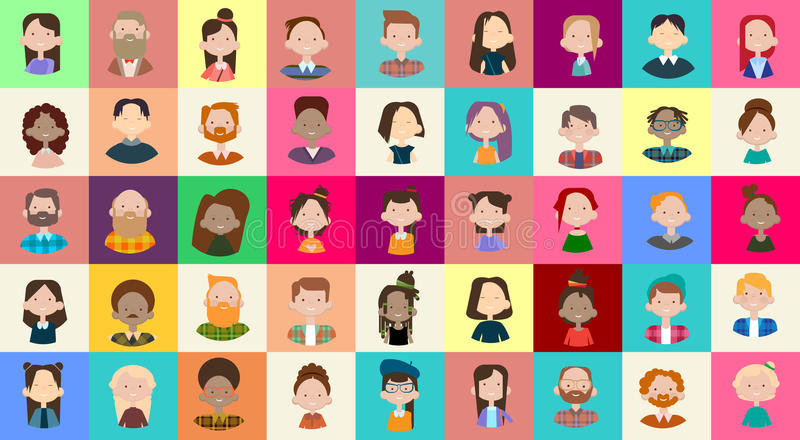 Baner för lopp för blandning för tillfällig folkmassa för folk för grupp för bild för profilsymbolsAvatar stor olikt etniskt stock illustrationer