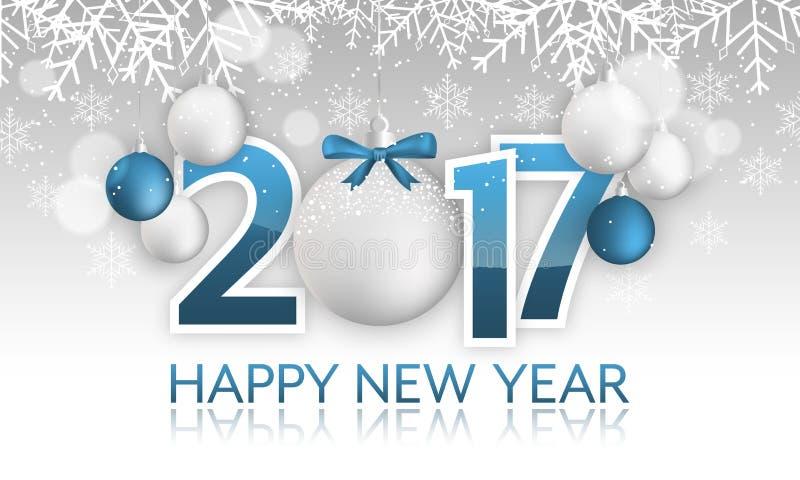 Baner 2017 för lyckligt nytt år Hängande struntsak med pilbågen, snö, snöflingor och suddiga cirklar royaltyfri illustrationer