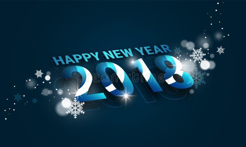 Baner 2018 för lyckligt nytt år med perspektivsikt och snöflingor Design för ditt hälsningkort vektor illustrationer