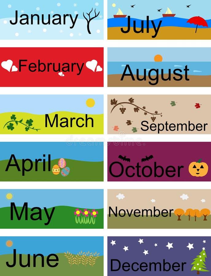 Baner för månader av året vektor illustrationer