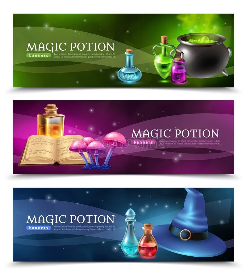 Baner för magisk dryck vektor illustrationer