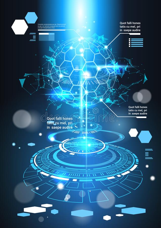 Baner för mall för Infographic beståndsdelar futuristiskt med diagram och grafen för bakgrund för abstrakt begrepp för kopierings stock illustrationer