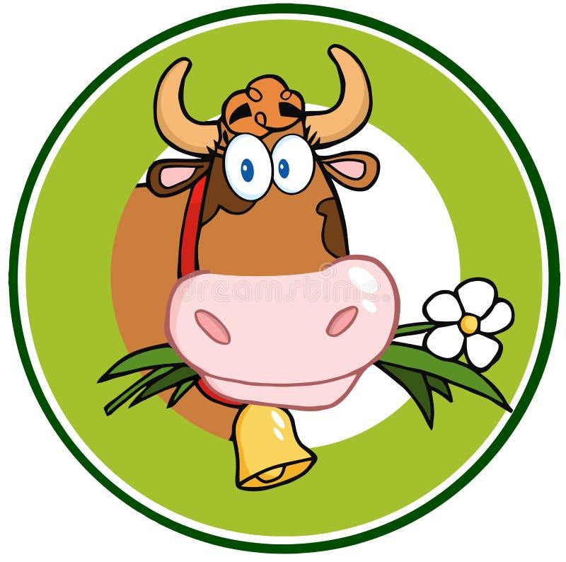 Baner för maskot för logo för mejerikotecknad film royaltyfri illustrationer