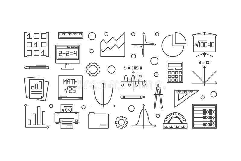Baner för matematikvektoröversikt stock illustrationer