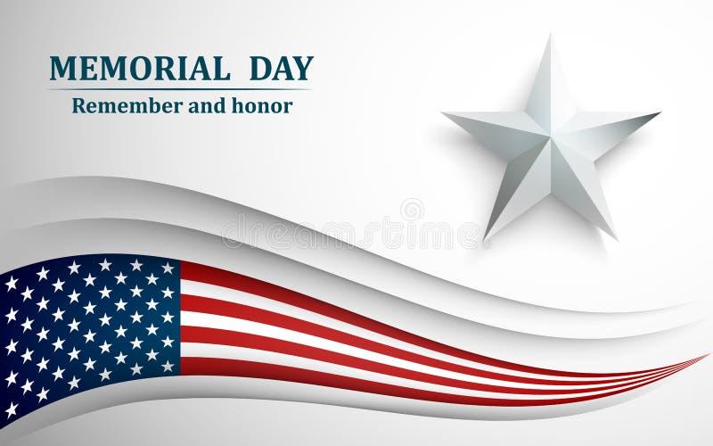 Baner för minnesdagen Amerikanska flaggan med stjärnan på grå bakgrund också vektor för coreldrawillustration vektor illustrationer