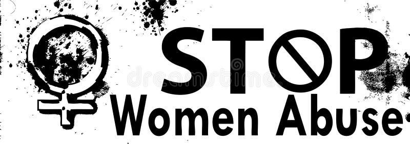 Baner för missbruk för vektorstoppkvinnor vektor illustrationer