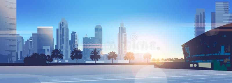 Baner för modern för cityscape för solnedgångskyskrapabyggnader horisontalför bakgrund för solljus för arena lägenhet för stadion vektor illustrationer
