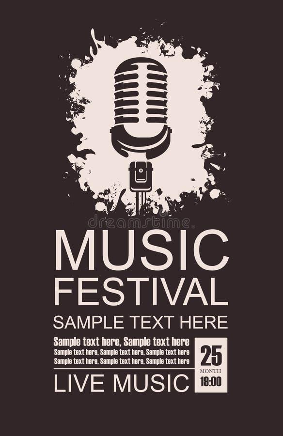Baner för musikfestival med en mikrofon royaltyfri illustrationer