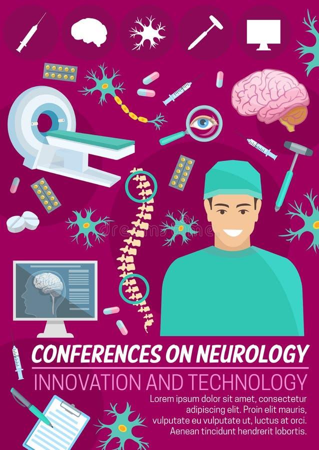 Baner för neurologimedicinkonferens med doktorn vektor illustrationer