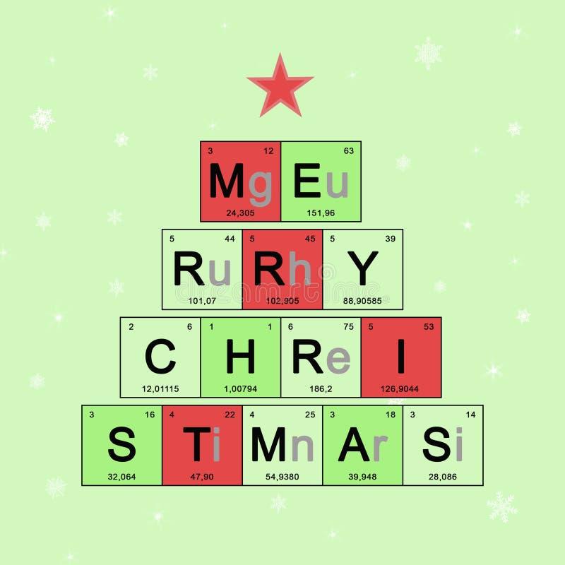Baner för nytt år med den periodiska tabellen för beståndsdelar, vetenskapligt tema, kemi - julkort på ljus - grön bakgrund med v stock illustrationer