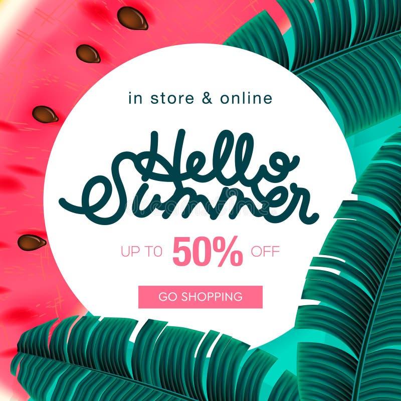 Baner för orientering för sommarförsäljningsbakgrund dekorerar med det tropiska bladet och vattenmelon kupongrabatt, vektorillust royaltyfri illustrationer