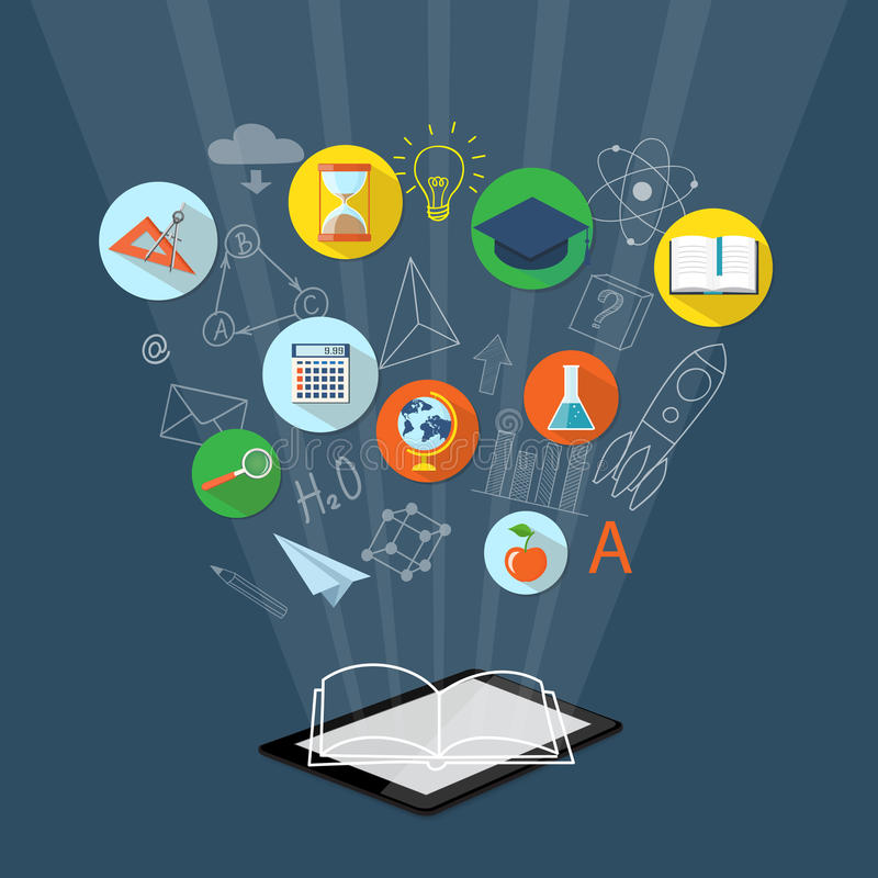 Baner för på linjen utbildning, eBook royaltyfri illustrationer