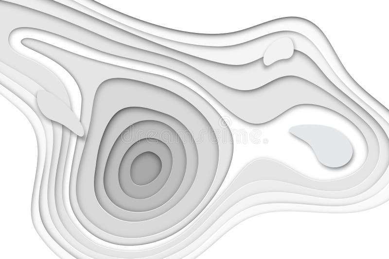 baner för papercut 3D av lutningvitboklager Vektorbakgrundsdesignen av slät origami för horisontalabstrakt begrepp formar royaltyfri illustrationer