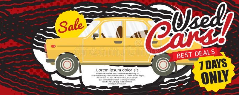 Baner för PIXEL för avtal 1500x600 för använd bil bästa royaltyfri illustrationer