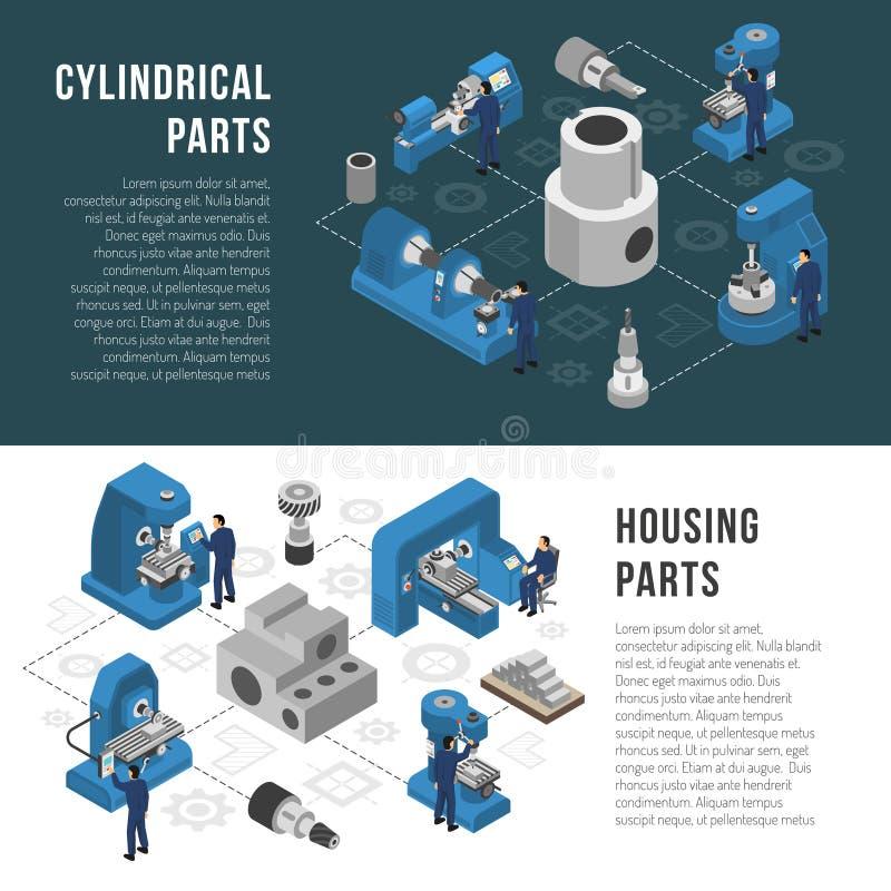 Baner för produktion 2 för tung bransch isometriska stock illustrationer