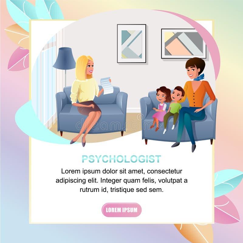 Baner för psykologOnline Consultation Vector rengöringsduk royaltyfri illustrationer