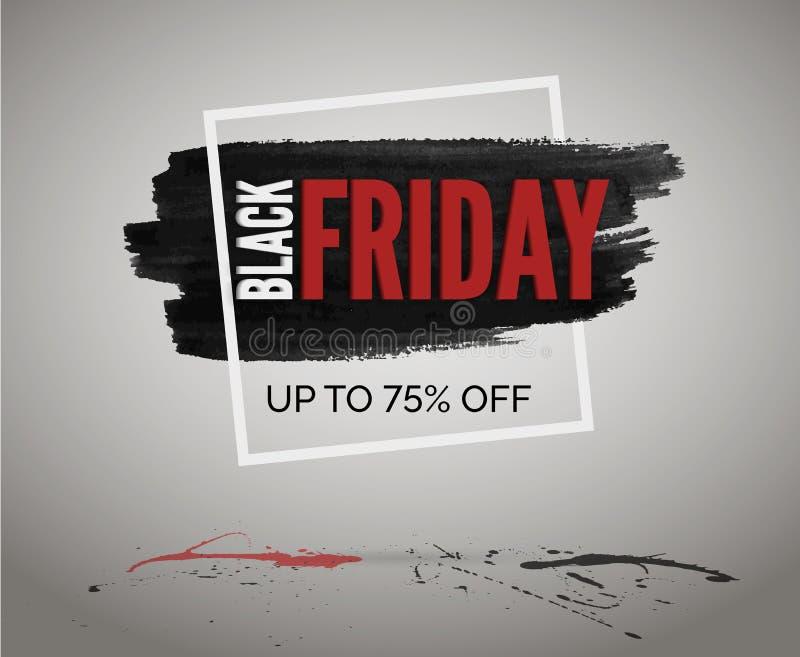 Baner för rabatt för Black Friday försäljningsvektor för händelse Röda vita svarta färgstänk av färgpulver med vattenfärgen och r stock illustrationer