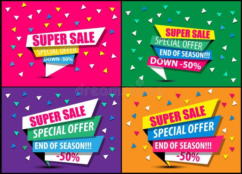Baner för rabatt för försäljning för toppen försäljning för samlingsförsäljning stort för rengöringsduk stock illustrationer