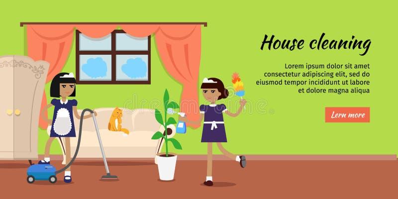 Baner för rengöringsduk för huslokalvårdvektor i plan design royaltyfri illustrationer