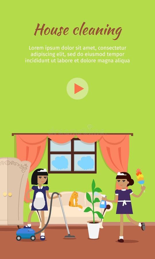 Baner för rengöringsduk för huslokalvårdvektor videopn vektor illustrationer