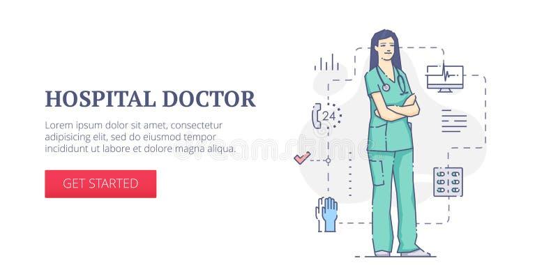 Baner för rengöringsduk för sjukhusdoktor stock illustrationer
