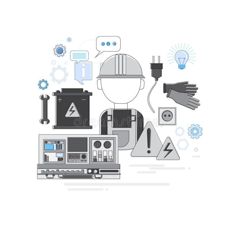 Baner för rengöringsduk för teknologi för professionellElectrican elektricitet vektor illustrationer