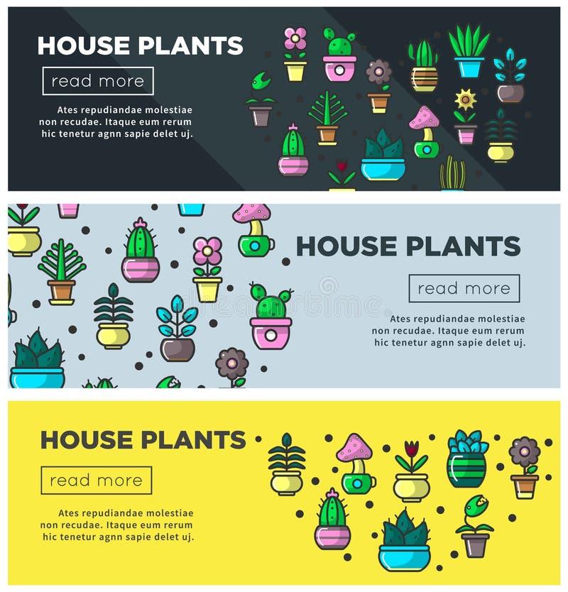 Baner för rengöringsduk för husväxt- och för hemträdgårdblommor vektor planlägger inomhus arbeta i trädgården mallen stock illustrationer