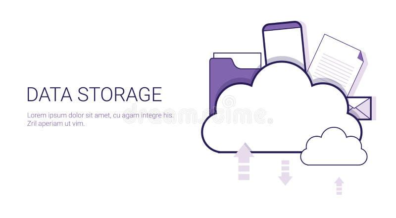 Baner för rengöringsduk för mall för affärsidé för moln för datalagring beräknande med kopieringsutrymme royaltyfri illustrationer