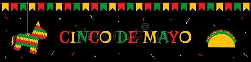 Baner för rengöringsduk för pinata-, bunting- och tacocincode mayo stock illustrationer