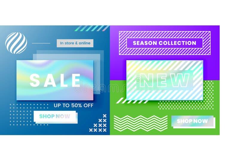 Baner för rengöringsduk för vektordesign till salu, affischer stock illustrationer