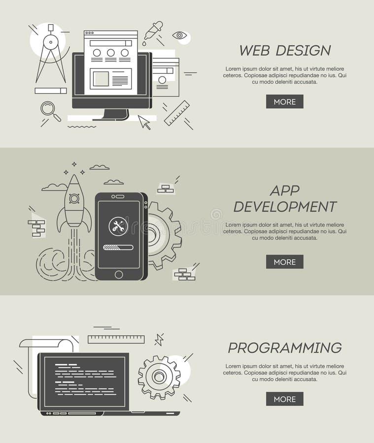Baner för rengöringsdukdesign, app-utveckling och att programmera royaltyfri illustrationer
